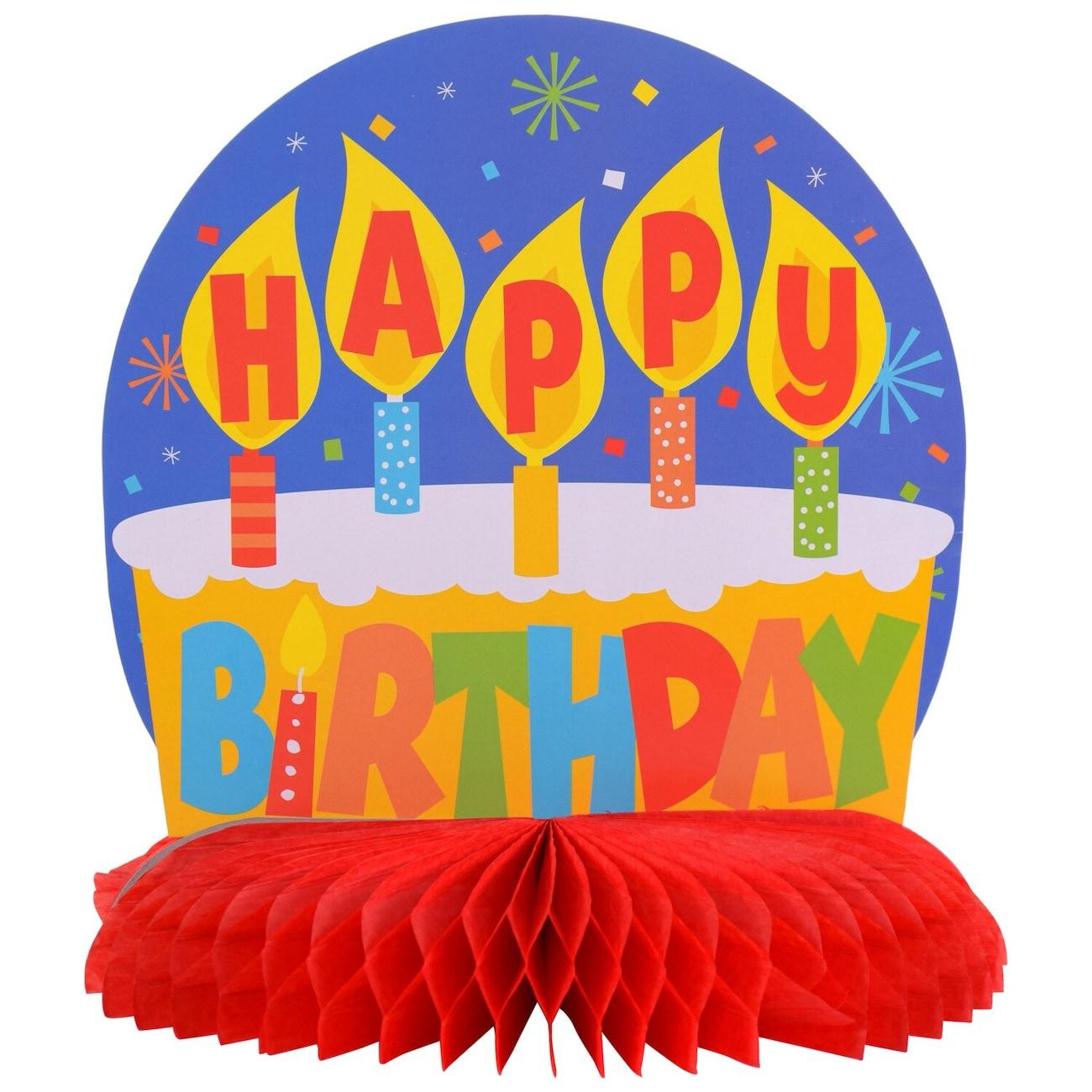 Bright Happy Birthday Tissue Centerpieces 10 In