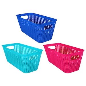 225820 Essentials Long Rectangular Plastic Weave Baskets