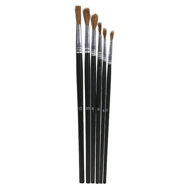 Artist Paint Brushes With Wood Handles 6 Ct Packs