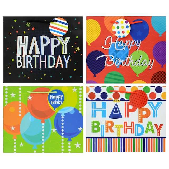 Voila Large Horizontal Happy Birthday Gift Bags