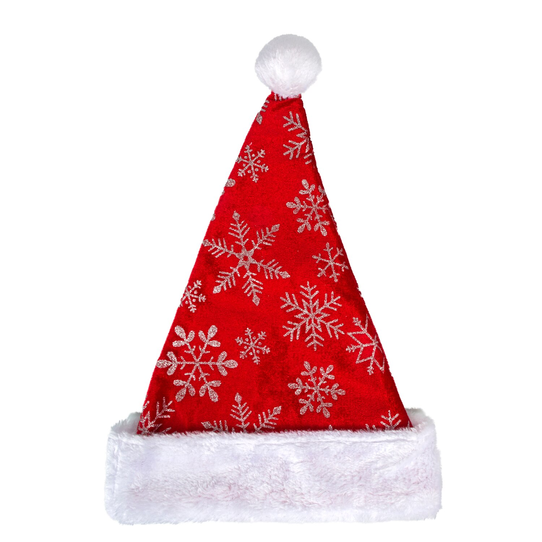 244264-Christmas House Glittery Snowflake Santa Hats, 17 in.