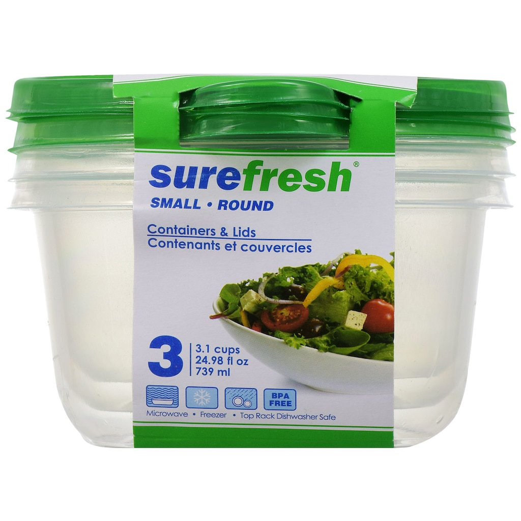Sure Fresh Small Round Storage Containers with Lids