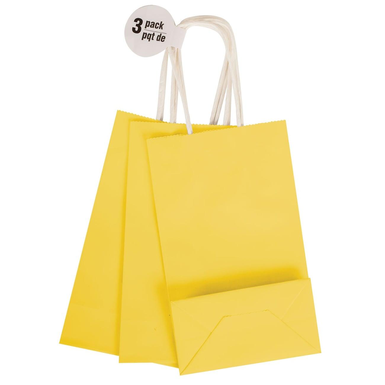 Small Yellow Kraft Paper Gift Bags 3 Ct Packs
