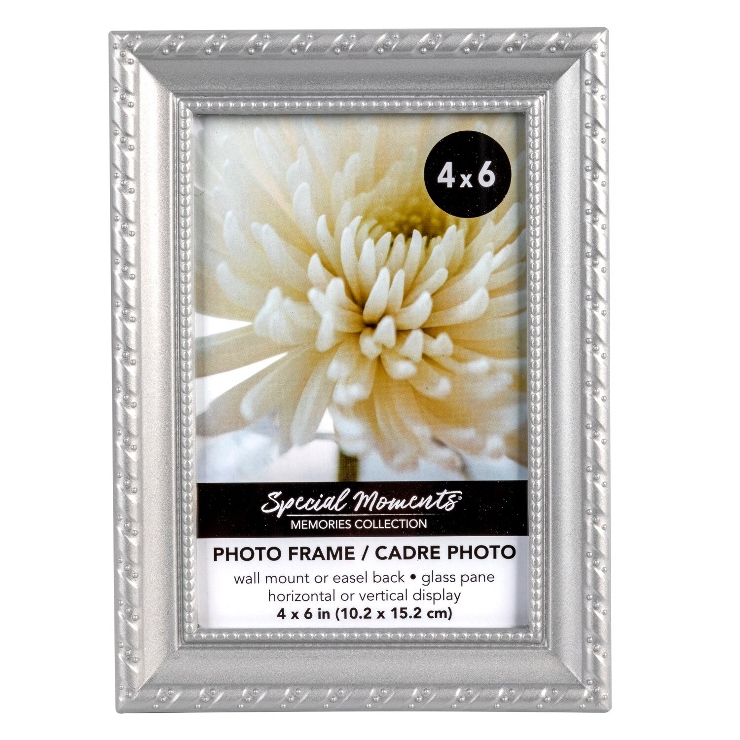 Special Moments Silver Rope Pattern Plastic Photo Frames 4x6 In