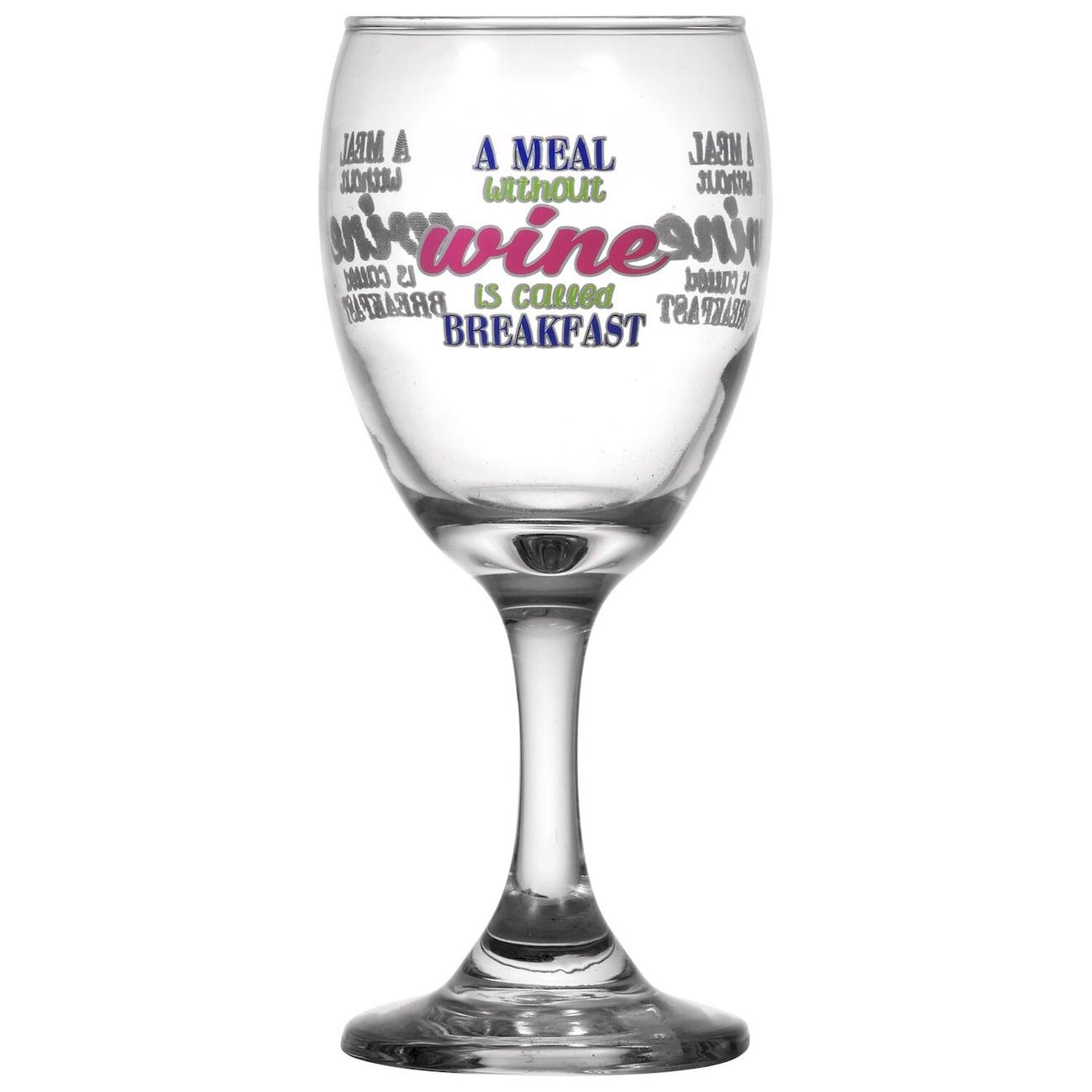 Printed Breakfast Wine Gles 10 Oz