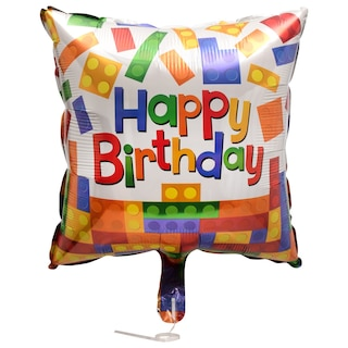 View Square Happy Birthday Candles Foil