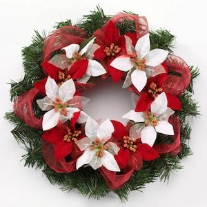 e83 christmas craft idea poinsettia ribbon wreath - Craft Christmas