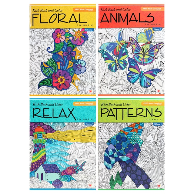Kick Back and Color to Music Adult Coloring Books, 31 Pages