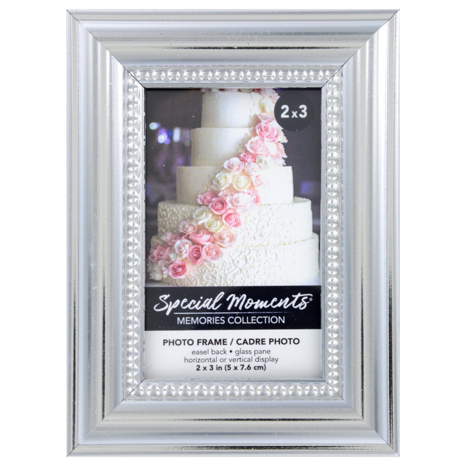 """2/""""x3/"""" Special Moments Picture frame Silver Borders Memories  Collection 2/"""" by 3/"""""""