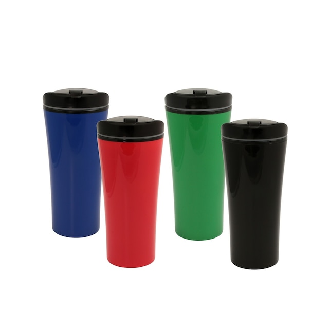 Double-Wall Plastic Travel Mugs, 16 5 oz