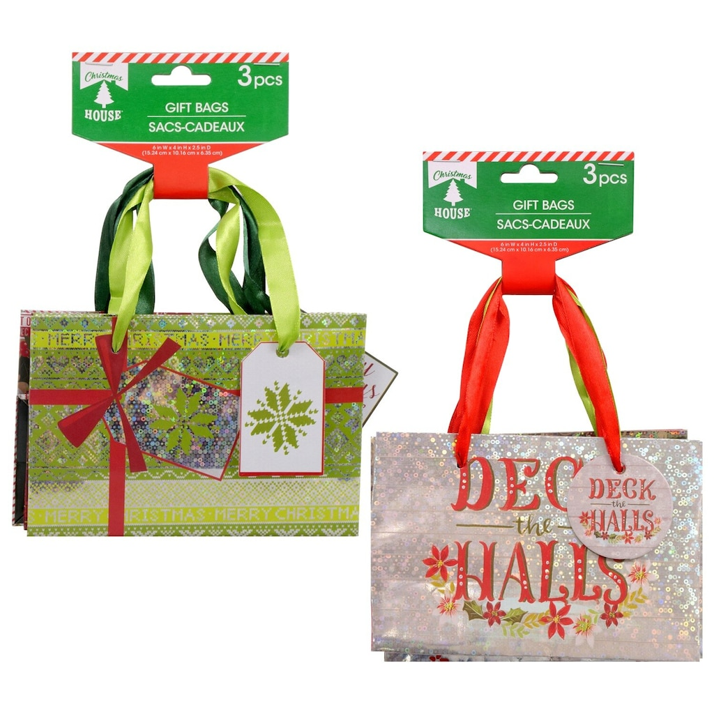 Christmas House Small Traditional Christmas Gift Bags, 3-ct. Packs