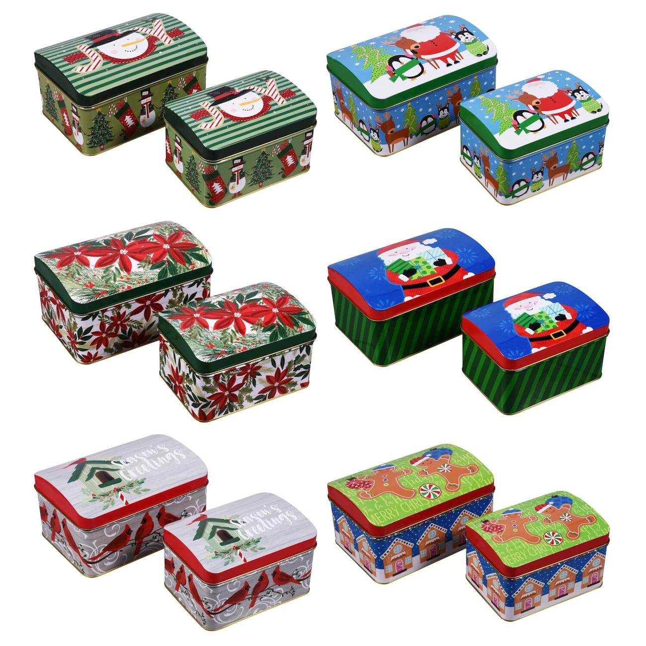 Christmas Design Hinged Tin Boxes