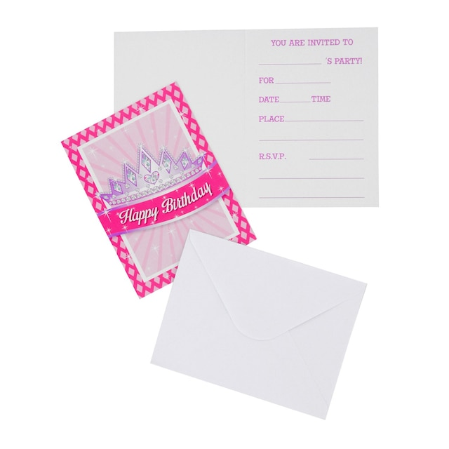 View Princess Party Invitations with Envelopes,