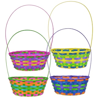 Pastel Woven Bamboo Easter Baskets