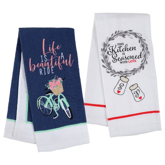Home Collection Sentiments Cotton Kitchen Towels, 15x25 in.
