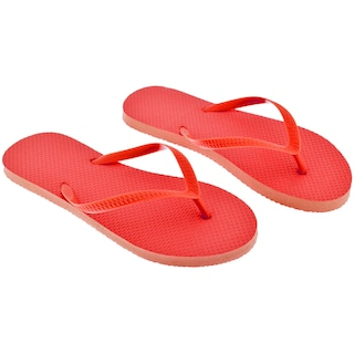 4ca5ce242eda View Ladies  Solid-Color Red Rubber Flip-Flops