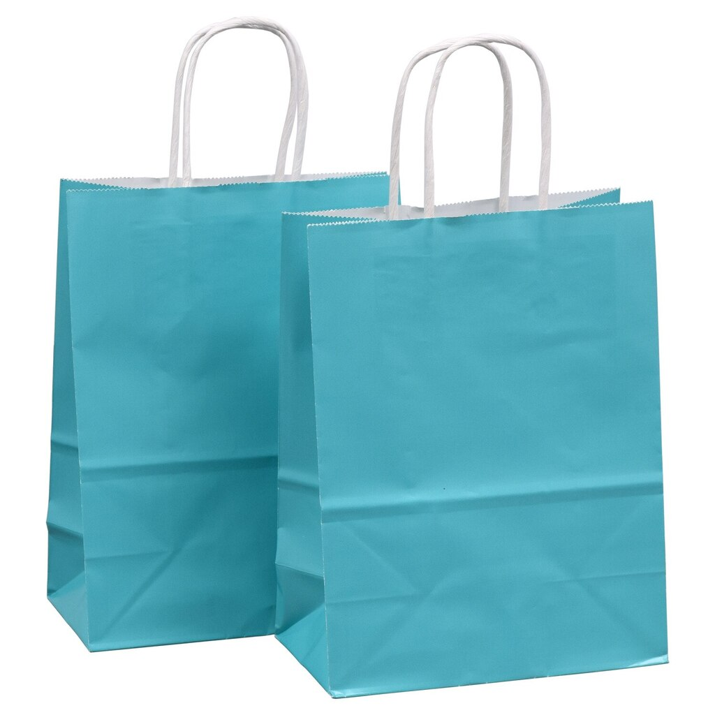 Voila Caribbean Blue Glossy Medium Gift Bags 8x10 In 2 Ct