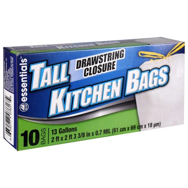 Essentials 13-Gallon Drawstring Trash Bags, 10-ct. Boxes