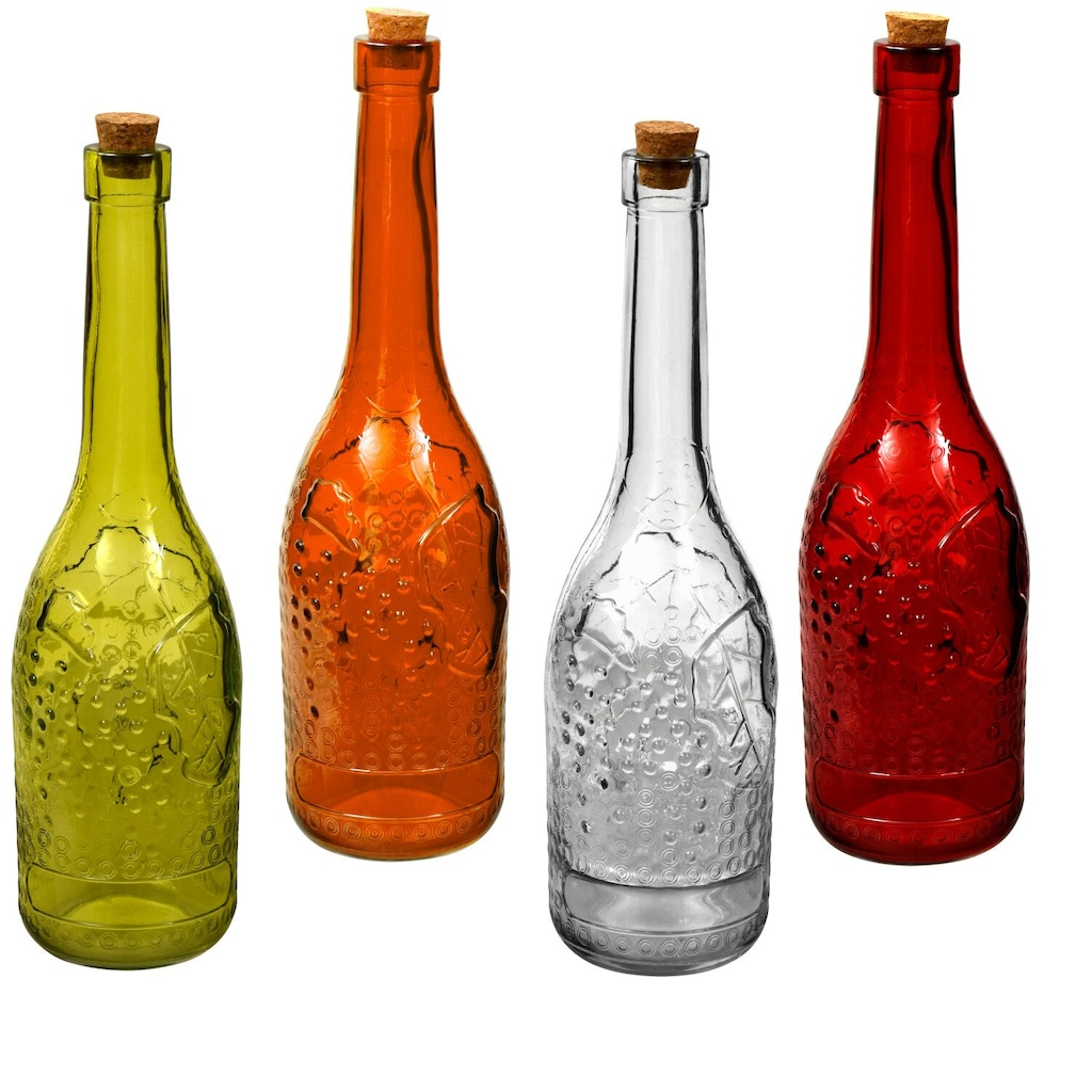 tall narrow neck colored glass bottles with cork stoppers 1225 in - Colored Glass Bottles