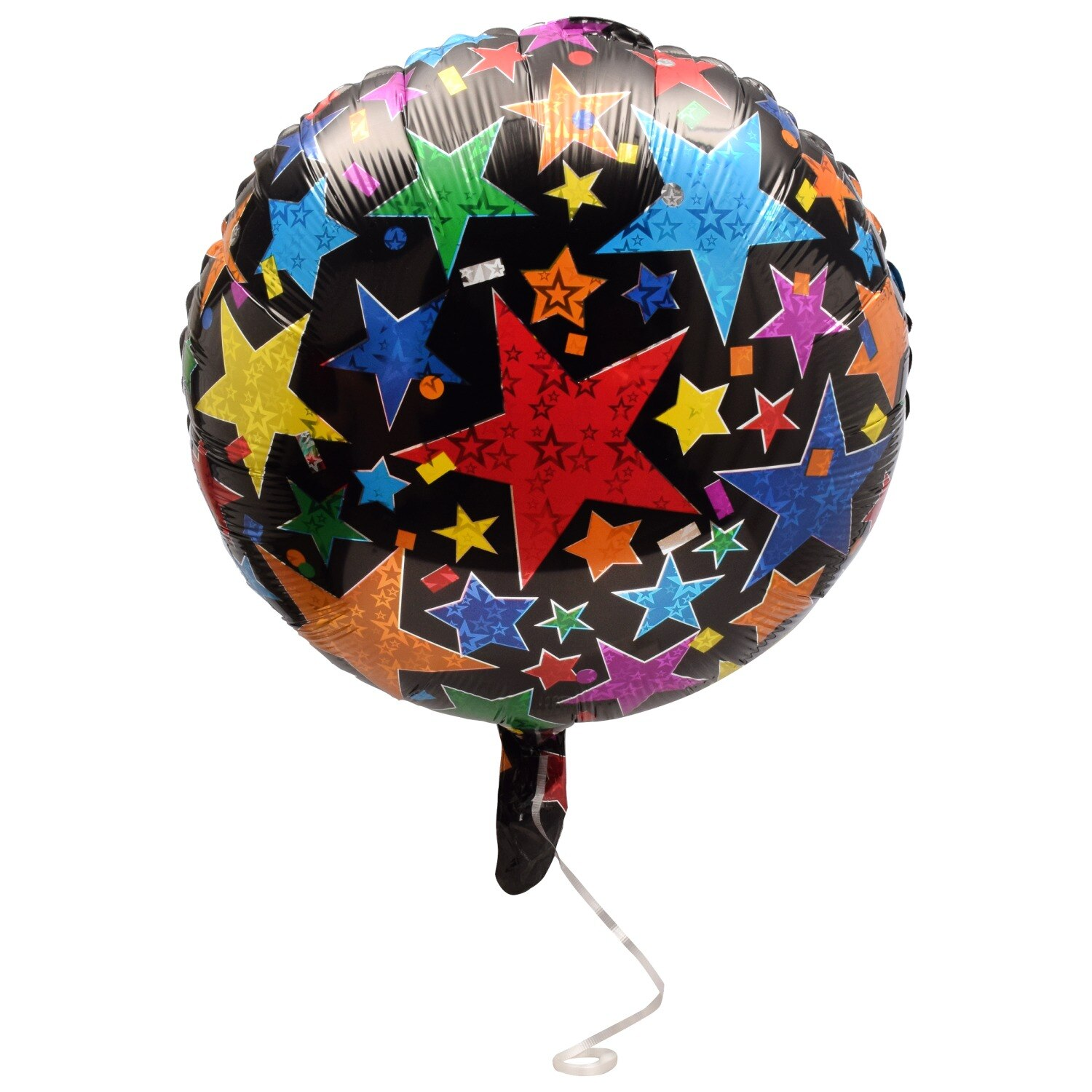 Star Confetti Foil Balloons With Attached Ribbons, 18 In