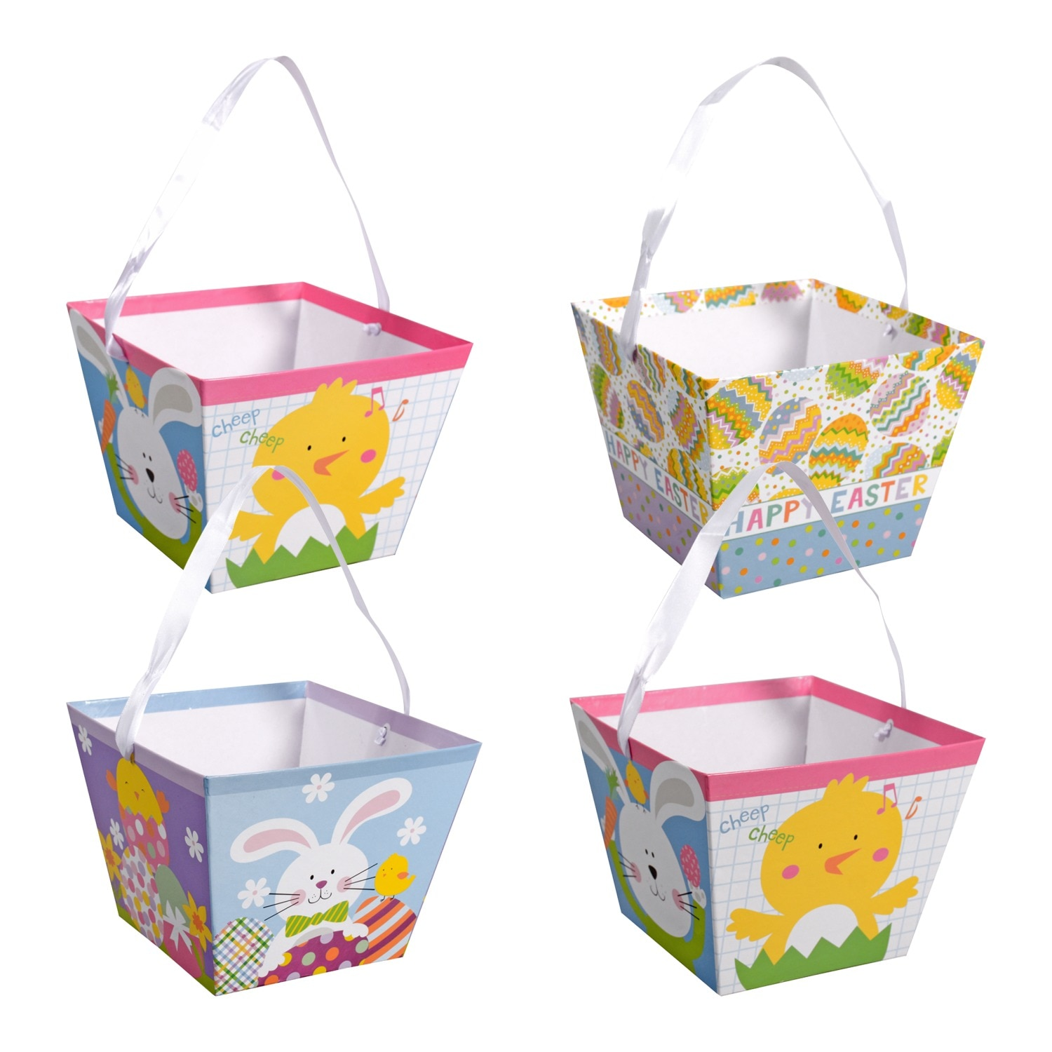 Square Paper Printed Easter Pails with Handles