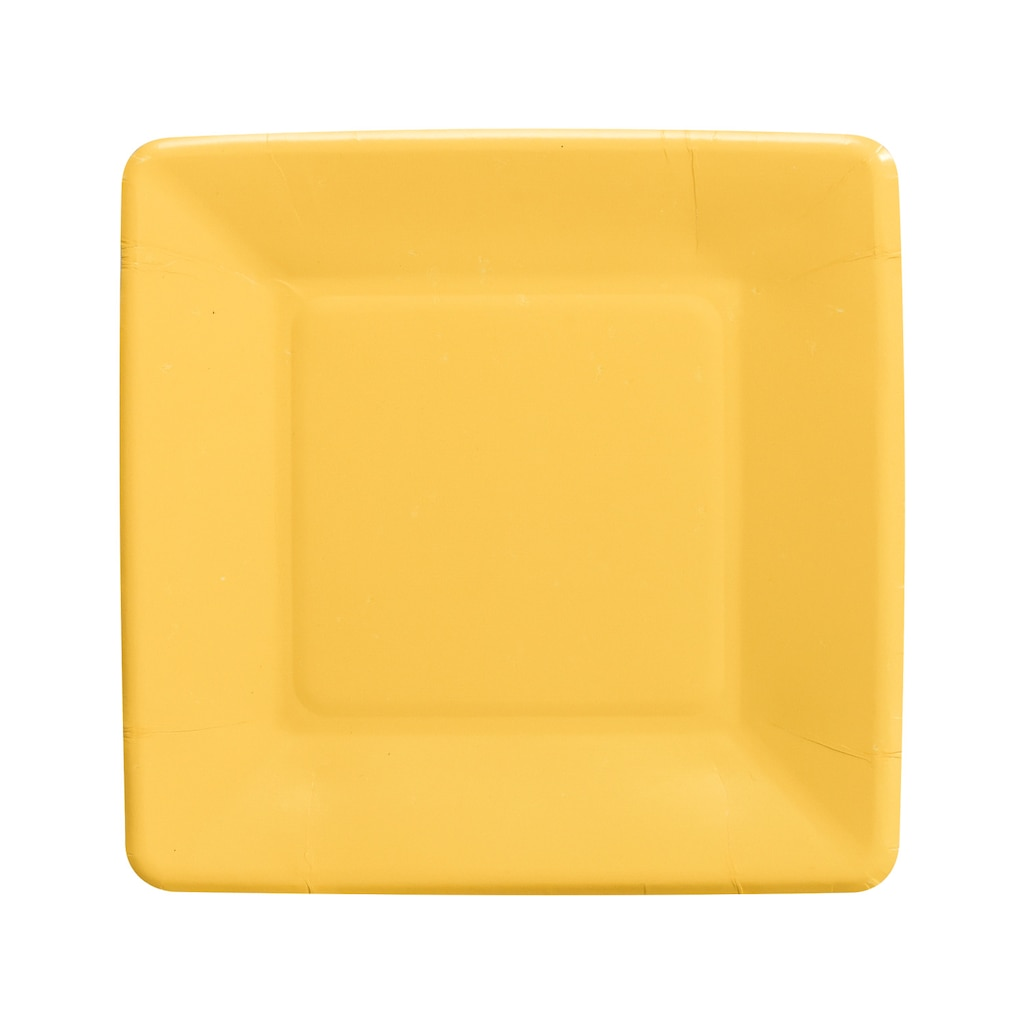 Square Yellow 7 in. Paper Party Plates, 18-ct. Paquetes