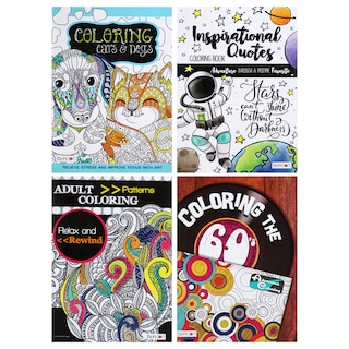 242762 Bendon Relax And Rewind Assorted Adult Coloring Books