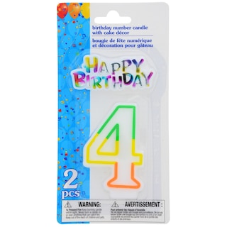 Number 4 Birthday Candles With Cake Decor 2 Pc Sets Product