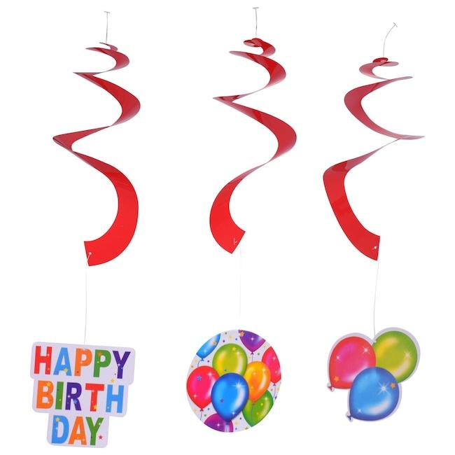 Birthday Balloon Hanging Glittery Swirl Decorations 3 Ct Packs