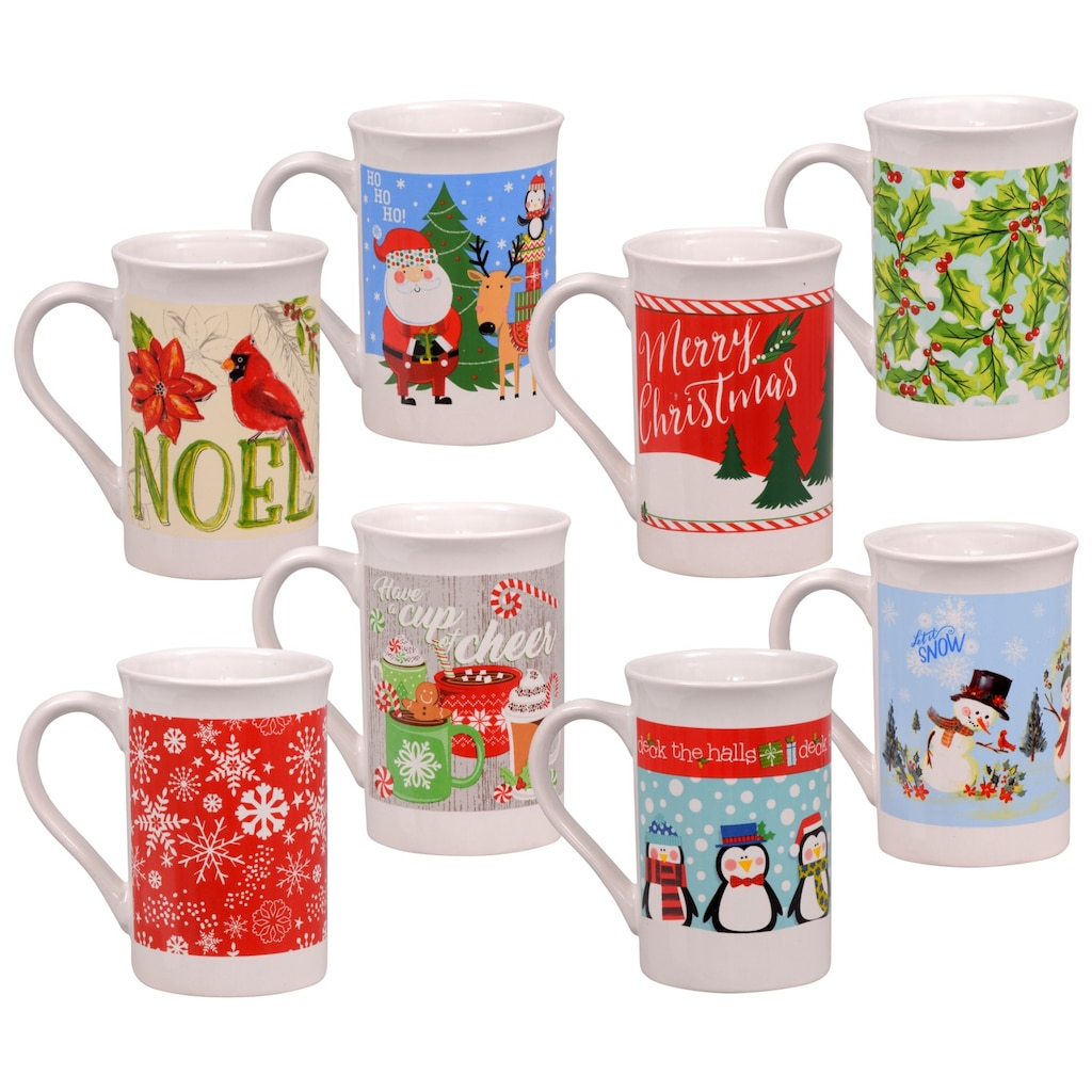 gift boxed flared rim stoneware holiday mugs 12 oz