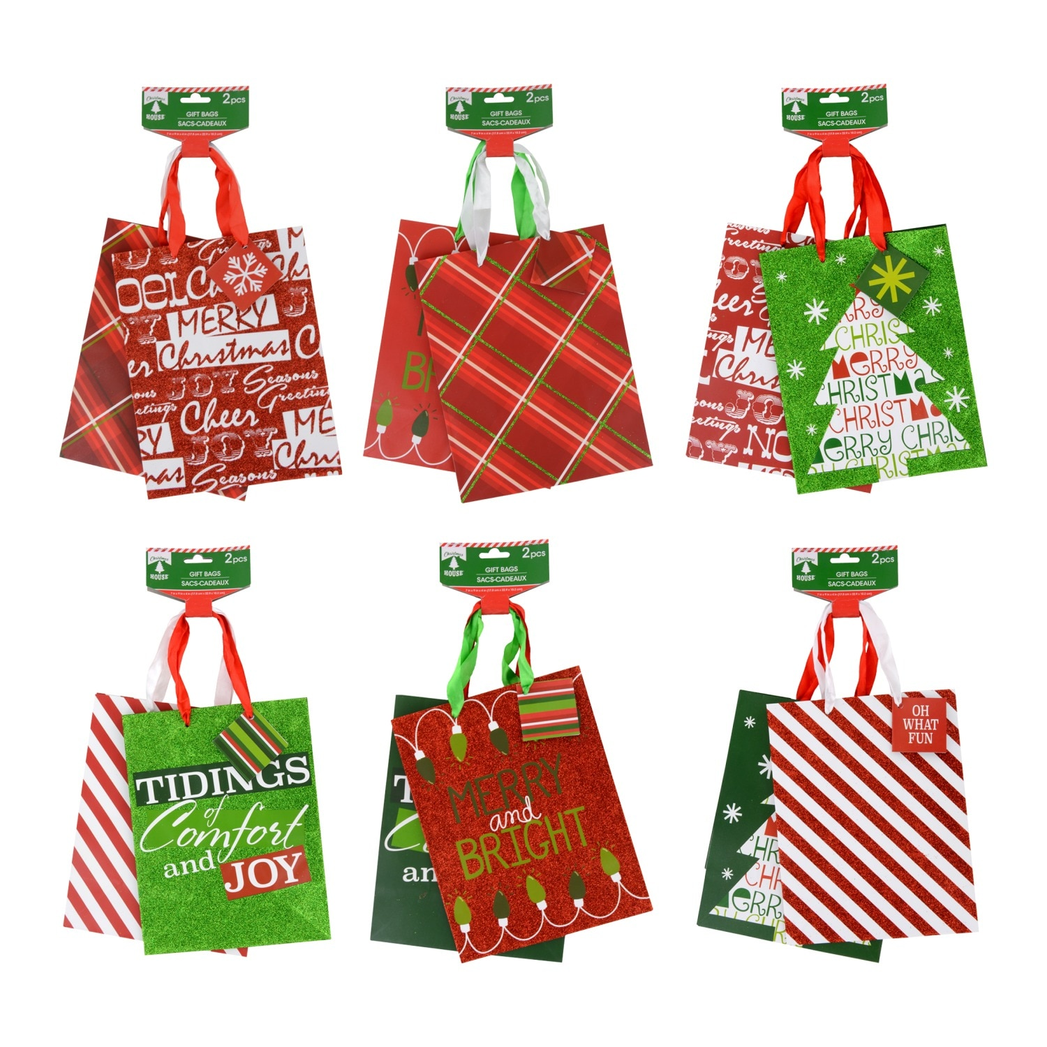 christmas house medium traditional christmas gift bags 2 ct packs
