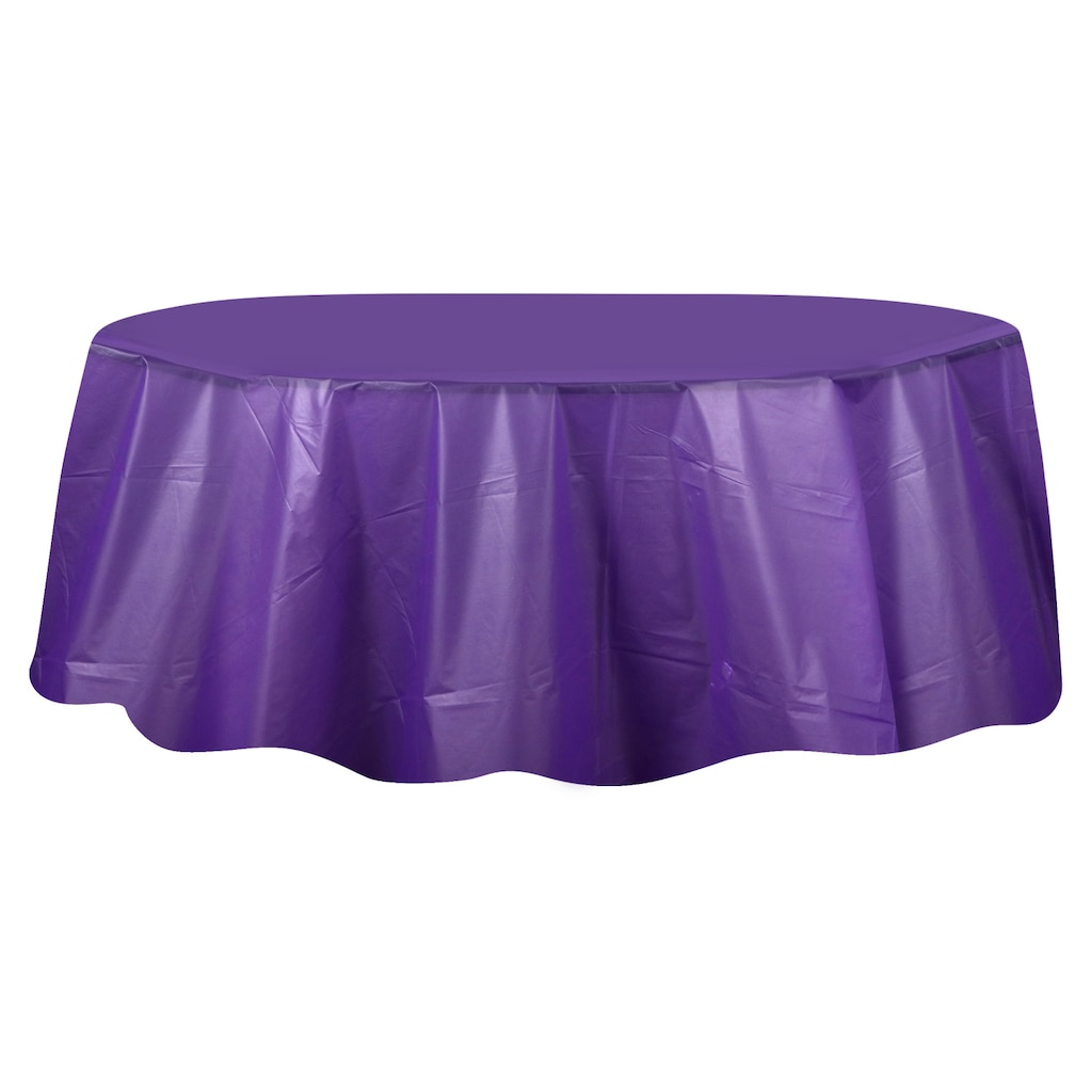 Round Purple Plastic Table Covers 84
