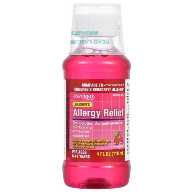 Assured Children's Cherry Flavored Liquid Allergy Relief, 4 fl oz  Bottles