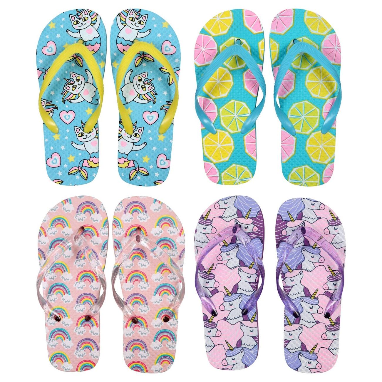 c8512083d Girls Fun Printed Rubber Flip Flops