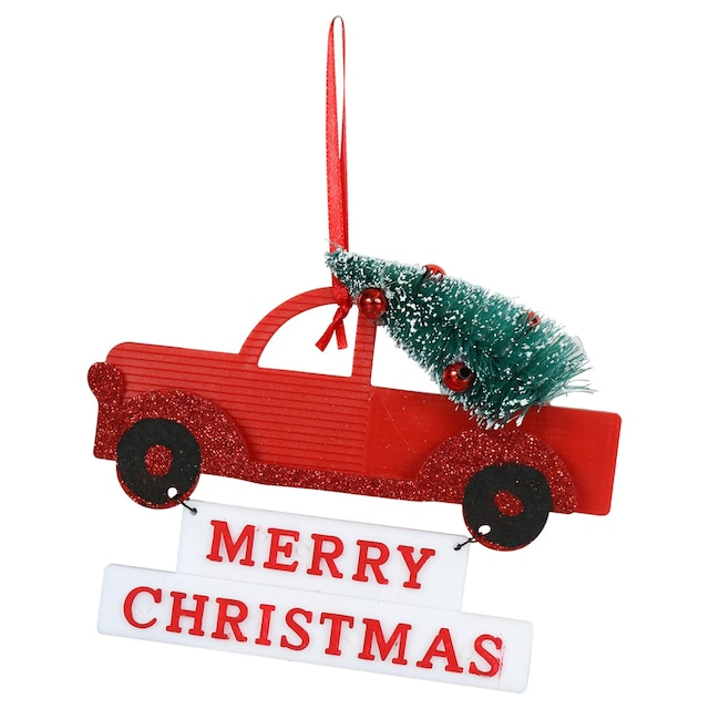 Christmas Red Truck.Christmas House Red Truck Ornaments