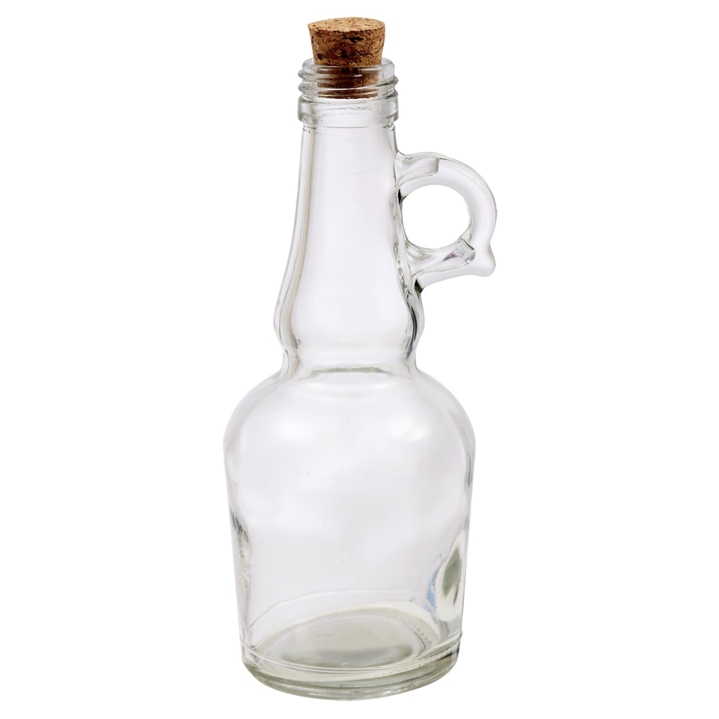 Clear Glass Bottles with Round Handles and Cork Stoppers, 7 in