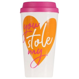View Valentine's White Printed Travel Mugs with Colored Tops, 12 oz.. Image 2 of 5