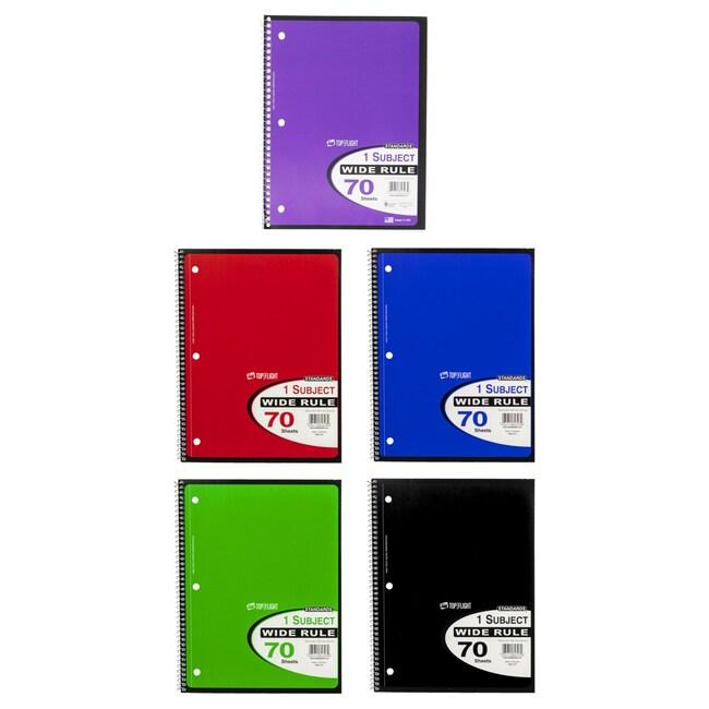 b7ed9151ae94 70-Sheet Wide-Ruled Spiral Single-Subject Notebooks