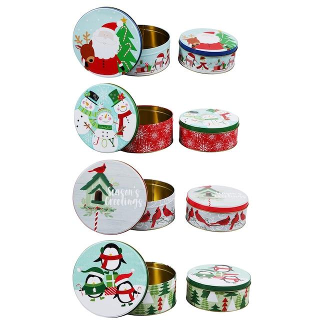 Christmas Tins.Christmas Prints Round Tins With Lids