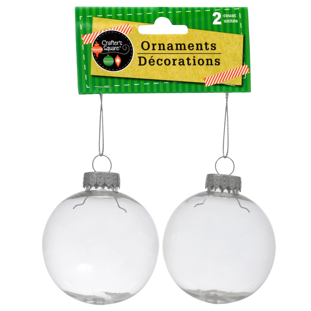 crafters square paintable clear plastic christmas ball ornaments 2 ct packs