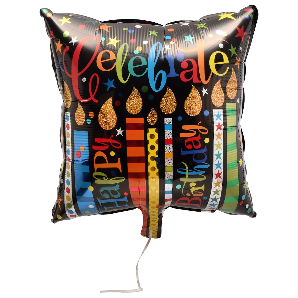 Celebrate Happy Birthday Candles Square Foil Balloons With Attached Ribbons