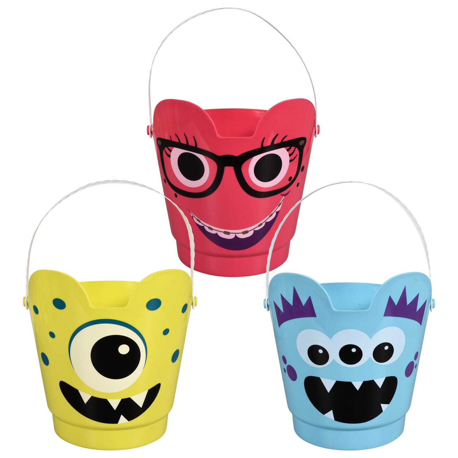 Monster Face Plastic Pails with Handles