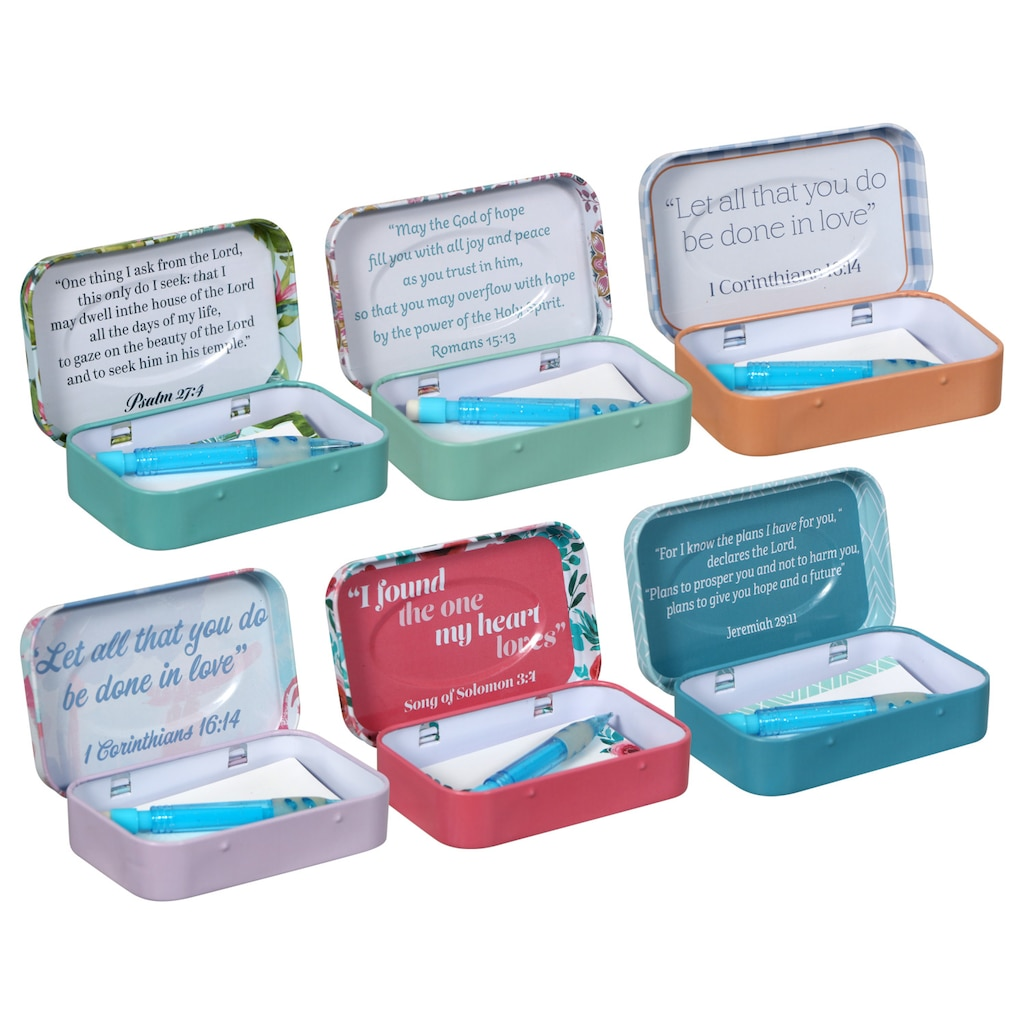 b4c4f714df1 Tin Prayer Boxes with Notepads and Pencils