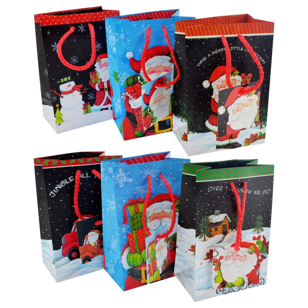 Christmas House Small Santa Claus Gift Bags, 3-ct. Packs
