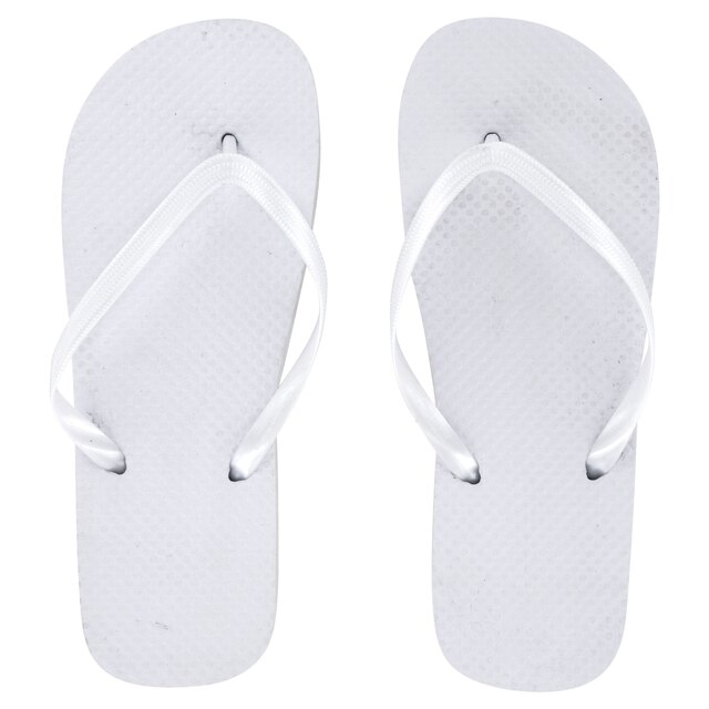 307193f201624a Ladies  Solid White Rubber Flip-Flops