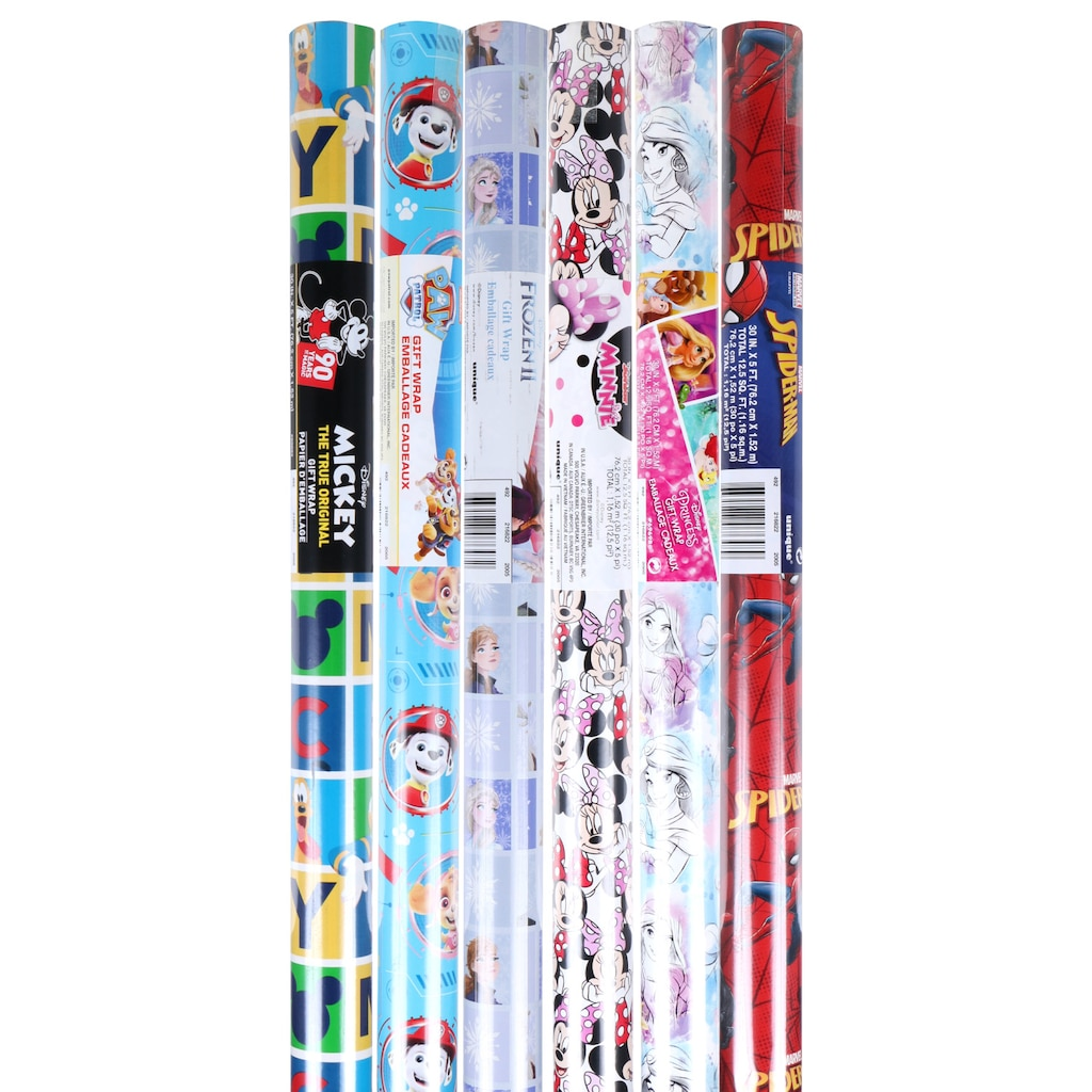 Licensed Character Gift Wrap 125 Sqft Rolls