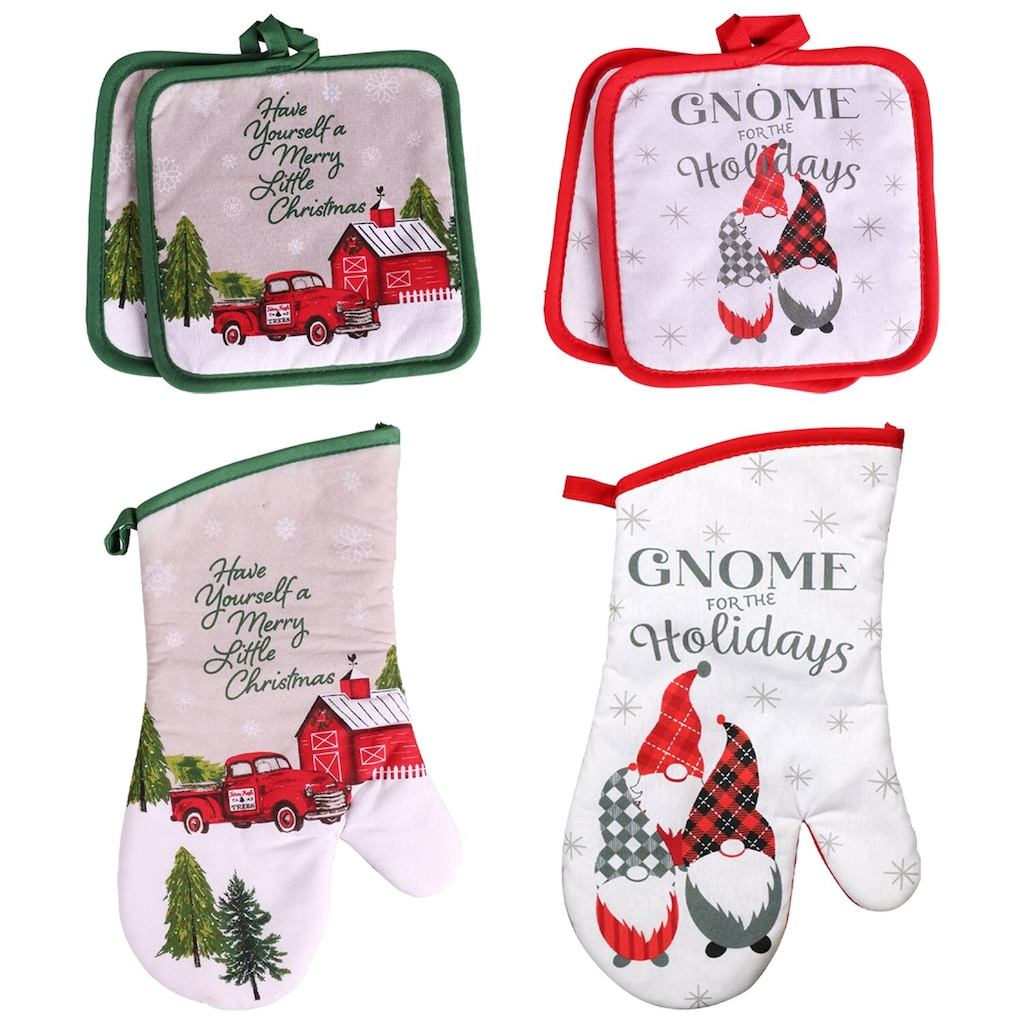 christmas house holiday words oven mitts and pot holders