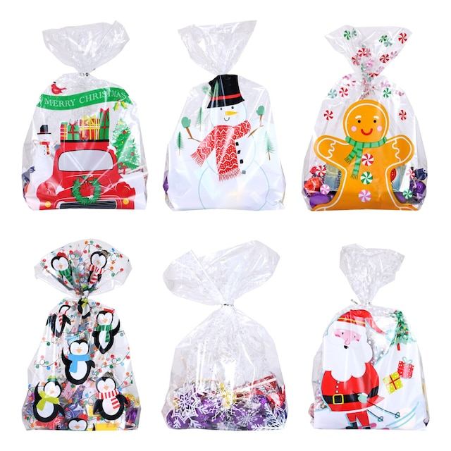 Christmas Cellophane Bags.Christmas Cellophane Treat Bags With Ties 25 Ct Packs