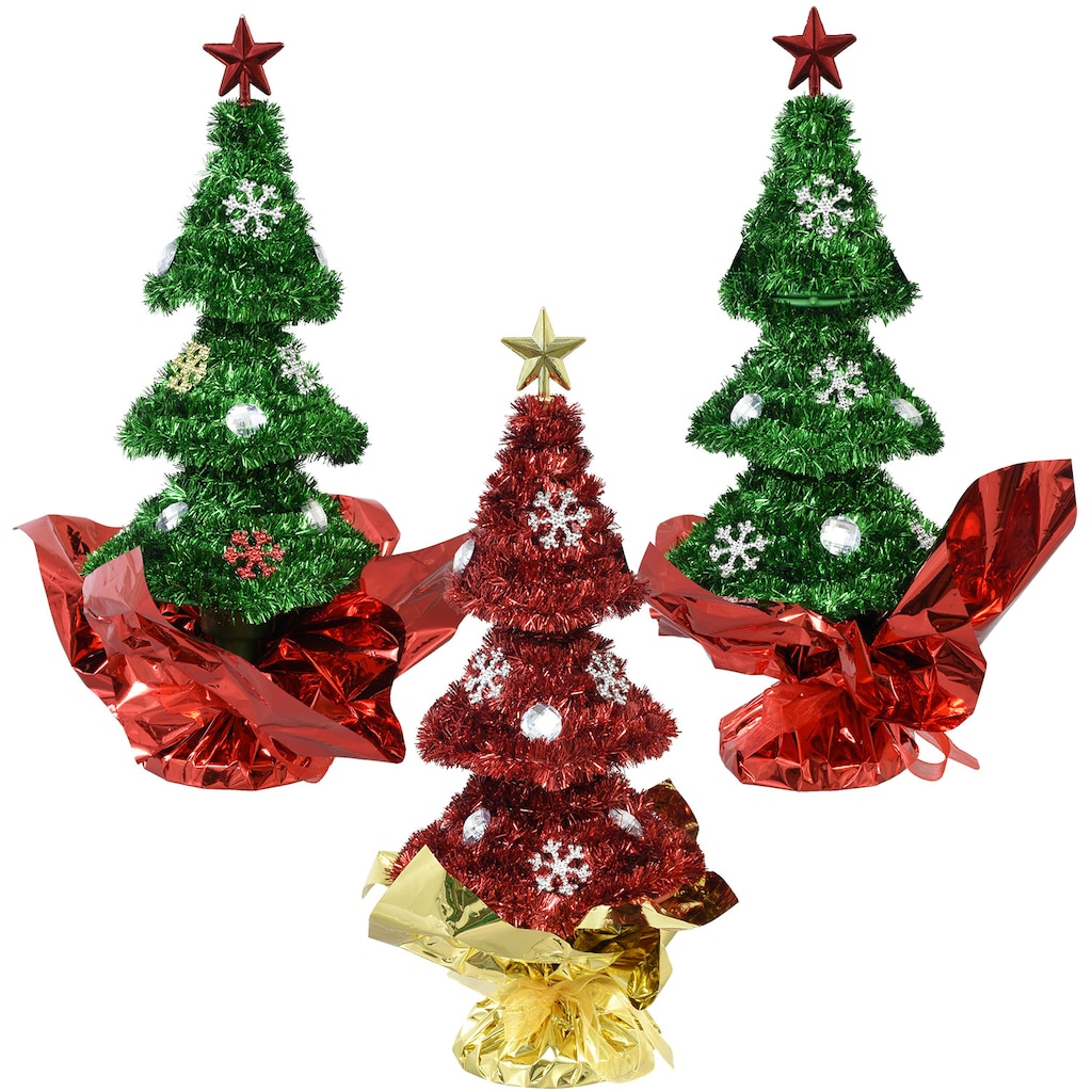 christmas house tinsel trees with ornaments 9 in - Christmas Tree Tinsel