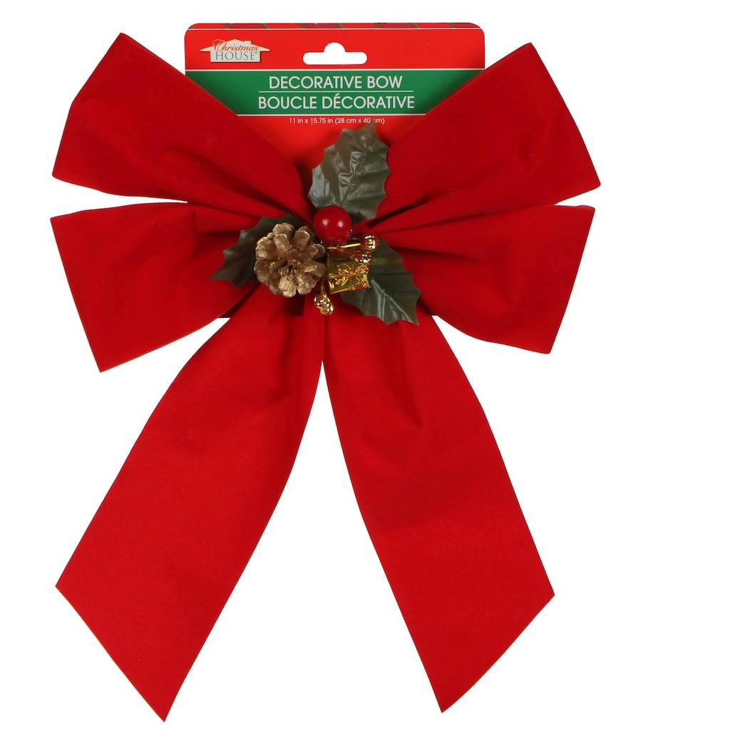 christmas house pre tied velvety red bows with pine cone accents - Red Christmas Bows